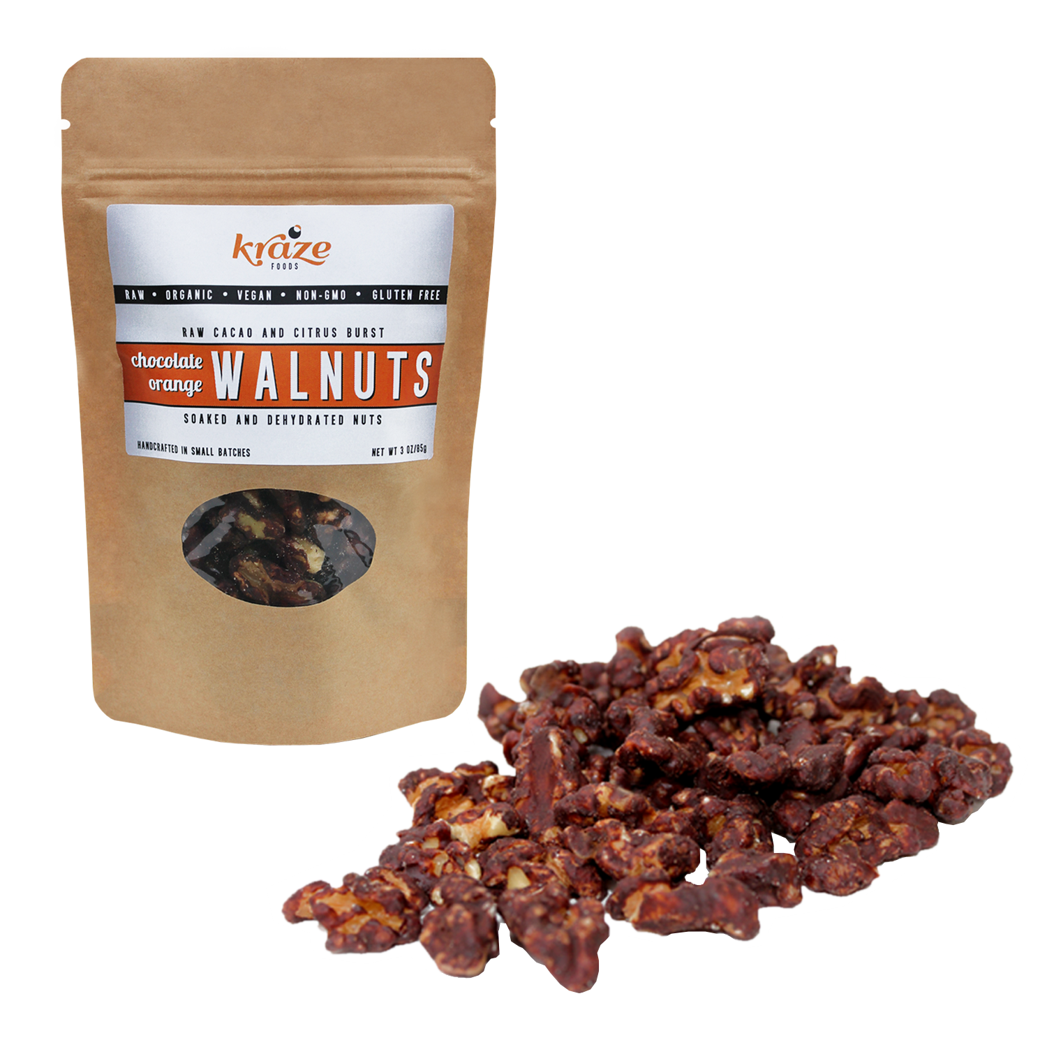 Gourmet Raw organicKraze Foods Chocolate Orange Walnuts